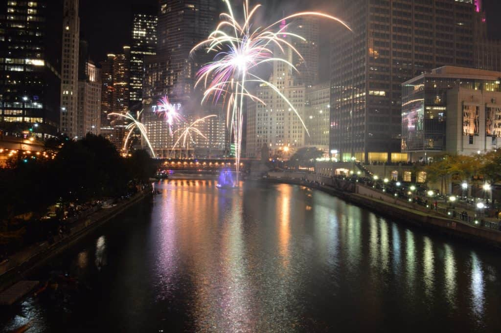 Fireworks on the Chicago River.